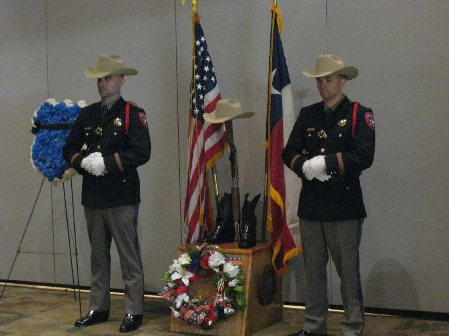The Department of Public Safety Honor Guard stands to be a display in honor of fallen law enforcement officers during the North Houston Second Annual Police Memorial Ceremony Monday, May 16, 2016, where local police officers were honored for their hard work and dedication.
