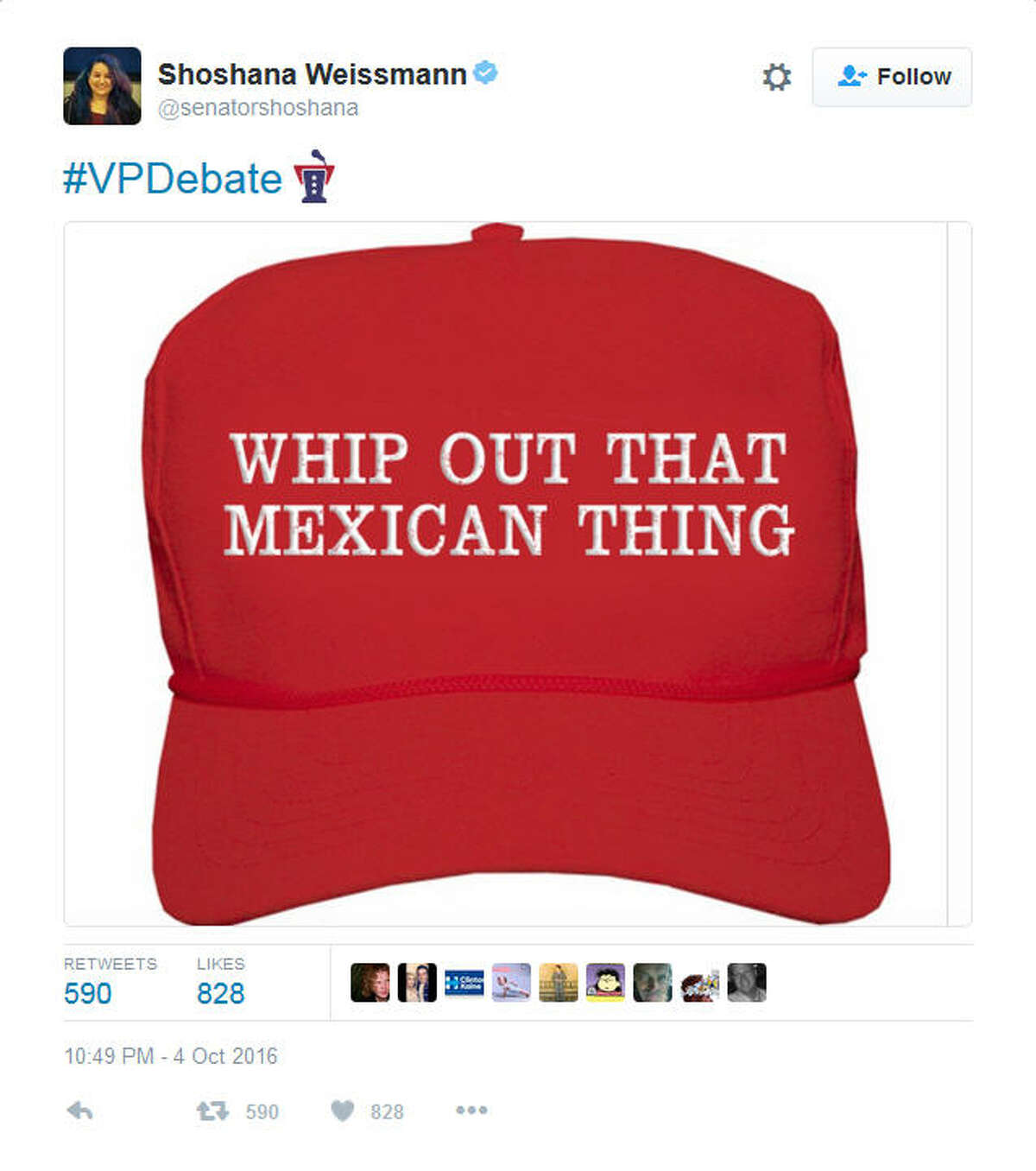 """A screenshot of a Twitter post following the vice-presidential debate between Sen. Tim Kaine, D-Va. and Gov. Mike Pence, R-Ind. on Oct. 4, 2016. During the debate, Pence brushed off Kaine's statements regarding GOP presidential nominee Donald Trump's thoughts on Mexican immigrants, saying, """"Senator, you whipped out that Mexican thing again."""" Some social media users vented their frustration at Pence's comments by turning it, in part, into a hashtag."""
