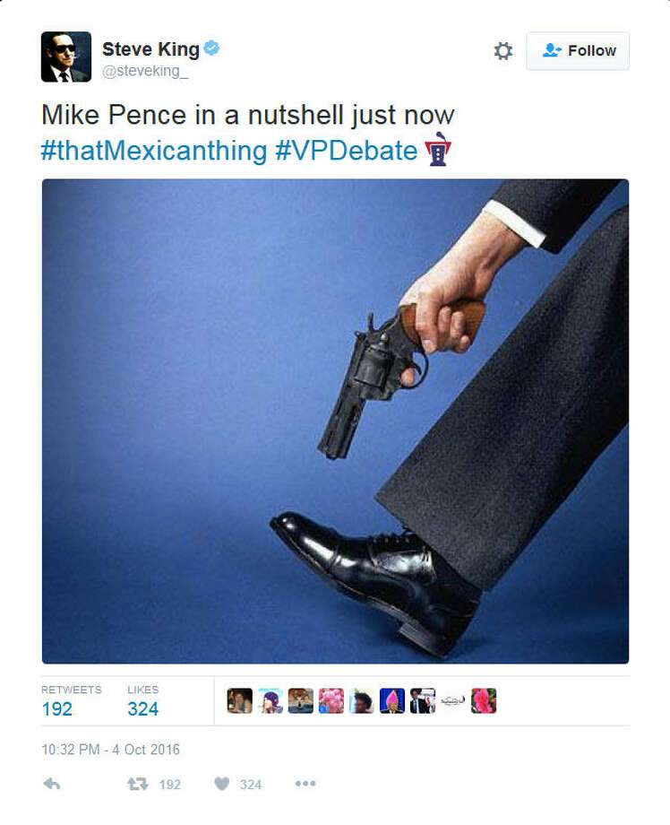 "FILE - A screenshot of a Twitter post following the vice-presidential debate between Sen. Tim Kaine, D-Va. and Gov. Mike Pence, R-Ind. on Oct. 4, 2016. During the debate, Pence brushed off Kaine's statements regarding GOP presidential nominee Donald Trump's thoughts on Mexican immigrants, saying, ""Senator, you whipped out that Mexican thing again."" Some social media users vented their frustration at Pence's comments by turning it, in part, into a hashtag. Photo: File/Twitter"