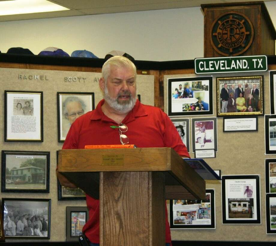 East Montgomery County Historical Society President Jerry Gay speaks at the Sept. 25 meeting of the Cleveland Historical Society, where he shared the history of East Texas railways. Photo: Staff Photo By Stephanie Buckner