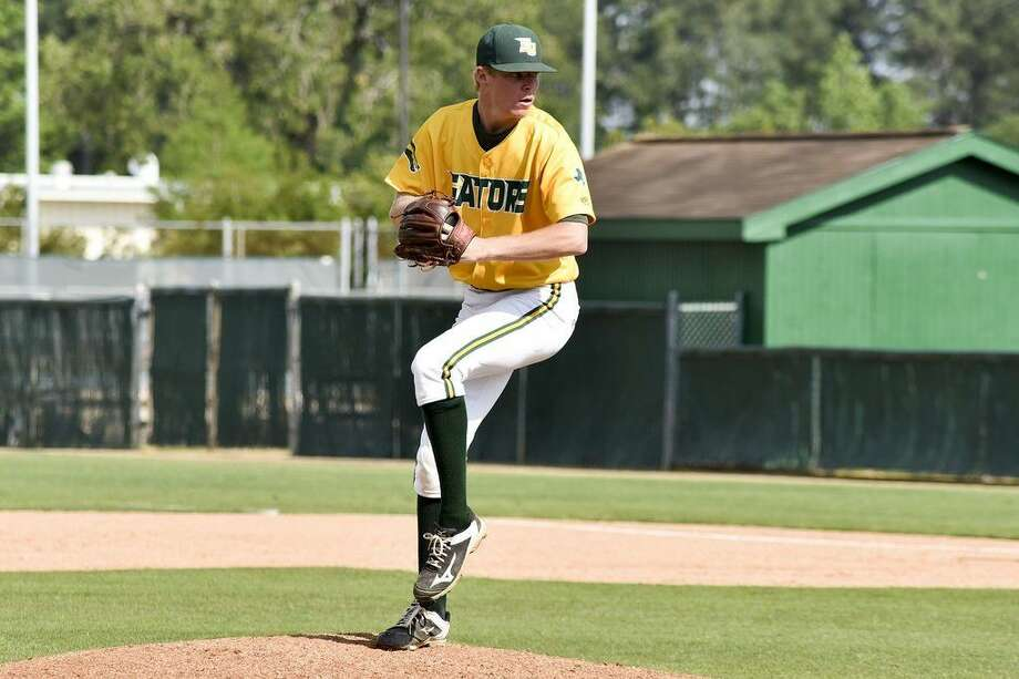 Sophomore pitcher Cody Nesbit pitched 7 scoreless innings, striking out 14 batters to qualify for the 2-1 win over Wharton County Junior College on May 16 in the Region XIV Tournament. Photo credit: Rob Vanya, San Jacinto College marketing, public relations, and government affairs department.