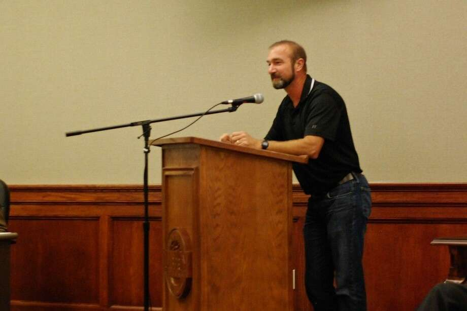 Cody Abshier addressed Liberty's city council members Tuesday evening, Sept. 23, to encourage the creation of bicycle lanes along some of the town's streets. Photo: Casey Stinnett