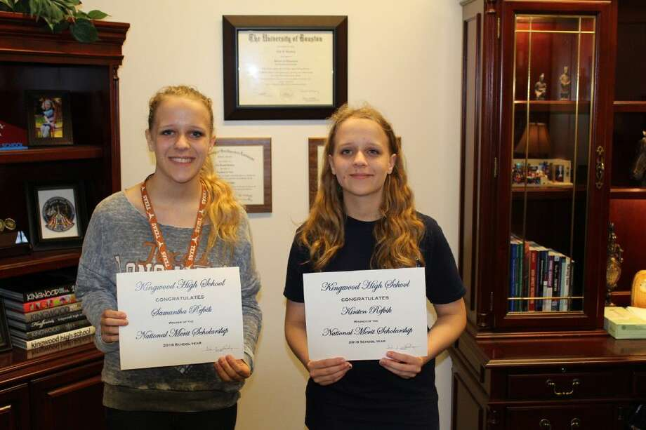 Samantha Refvik, left, Kirsten Refvik, right, were recently recognized as Humble ISD 2016 National Merit Scholars.