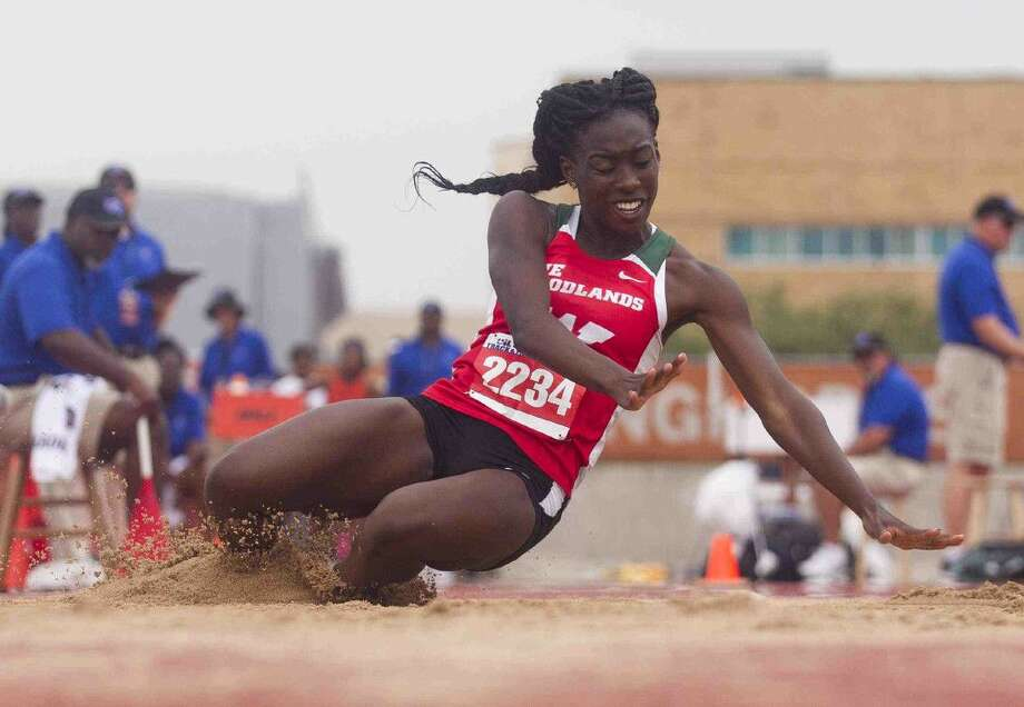 Tessa Mpagi of The Woodlands competes in the Class 6A girls triple jump during the UIL State Track & Field Championships Saturday at Mike A. Myers Stadium in Austin.