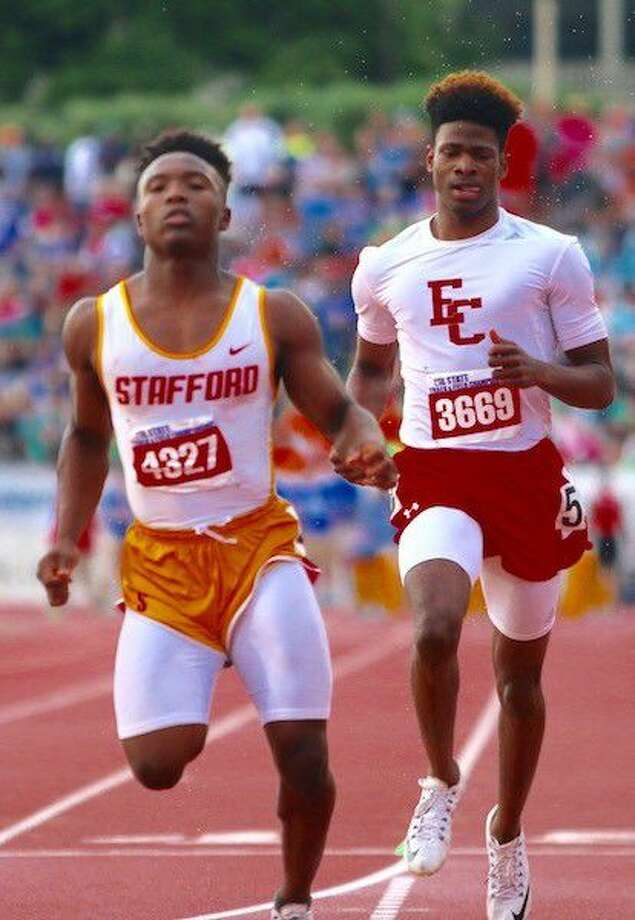 Cameron Montgomery won the 100-meter dash and led the 800-meter relay to a silver medal as Stafford won the UIL Class 4A state track and field championship, May 14 at Mike A. Myers Stadium in Austin. Photo: Stafford MSD Media Relations