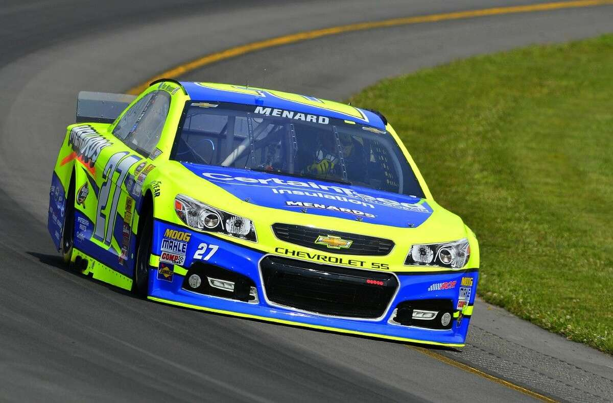 Paul Menard during practice for the GOBOWLING.COM 400 at the Pocono Raceway in Long Pond, PA.