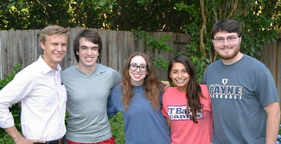 Three HPU students were among the summer interns at Oakwood Baptist Church in New Braunfels. The interns included, from left, Holmes Lybrand, University of Texas; Francis Schmaltz, HPU; Kelsan Wolverton, HPU; Denae Dreessen, Houston Baptist University; and Beaux Pace, HPU. Photo: Submitted Photo