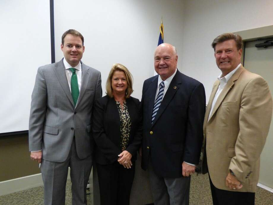 (Left-right) Move Texas Forward President Scott Haywood, Fort Bend Chamber of Commerce President and CEO Keri Schmidt, Fort Bend County Judge Bob Hebert and Joe Zimmerman, vice chair of the Chamber's Governmental Relations Division, after a luncheon on Proposition 1 Thursday, Sept. 25. Photo: Submitted