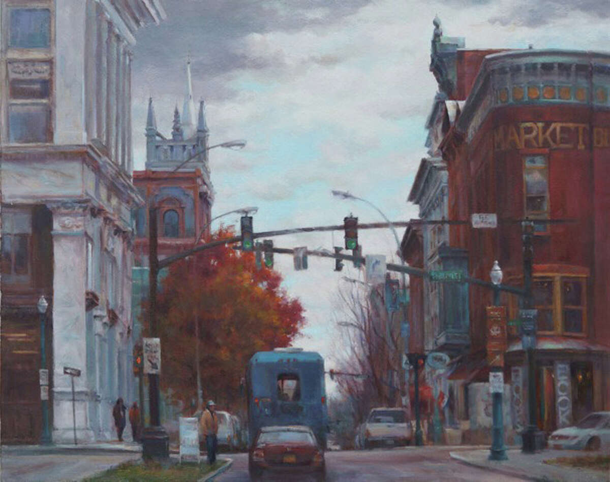 """Elizabeth Apgar-Smith's """"Autumn in Troy"""" at Clement Art Gallery, Broadway and Second Street, Troy."""