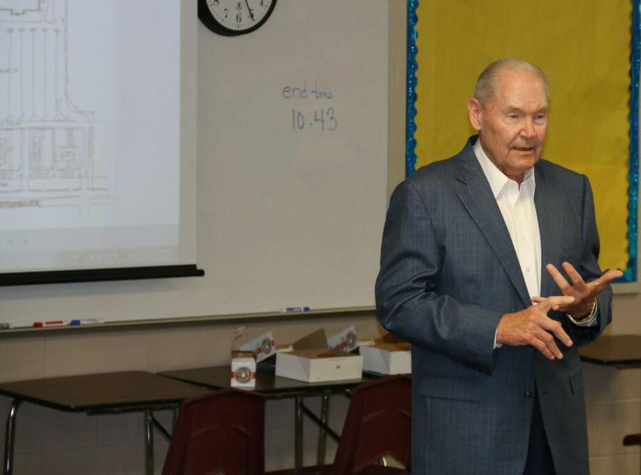 Leroy Hermes sharing his stories with the Magnolia West students. Photo: Submitted