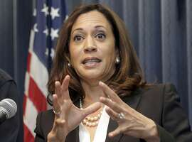 FILE - In this Sept. 2, 2015 file photo, California Attorney General Kamala Harris speaks at a news conference in Los Angeles. California's U.S. Senate candidates are meeting in a televised debate, in what could be a first-and-only look for many voters at Harris and Rep. Loretta Sanchez. The two Democrats who want to replace Sen. Barbara Boxer will clash for an hour Wednesday evening, Oct. 5, 2016, in Los Angeles. (AP Photo/Nick Ut, File)