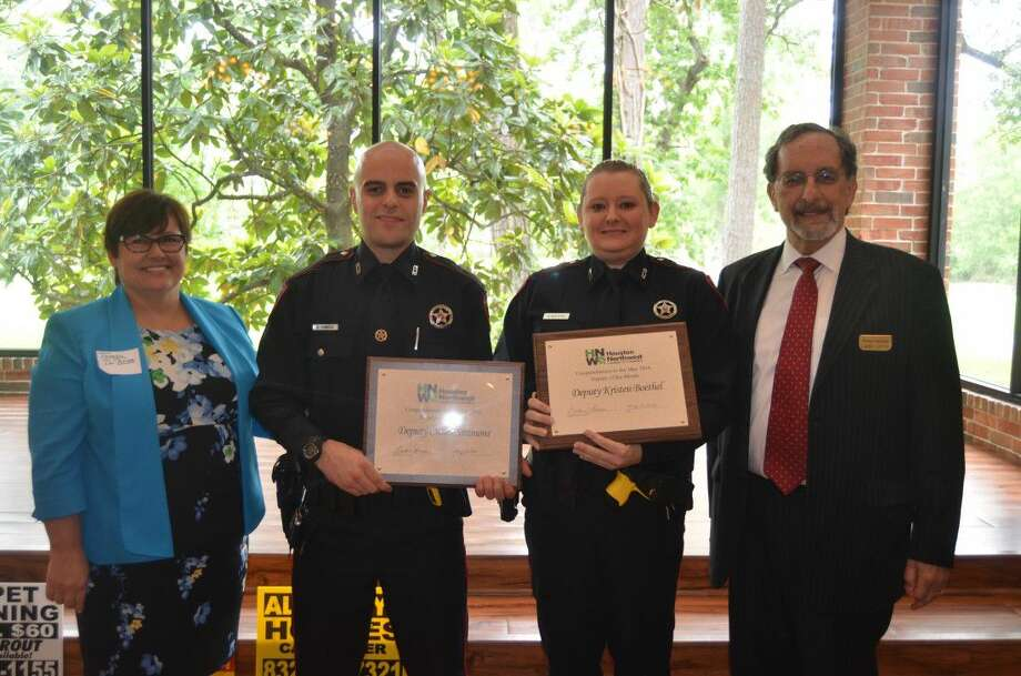 Pictured from left are Precinct 4 JP 4-1 Chief Clerk Theresa Dubose, Deputy Cullen Simmons, Deputy Kristen Boethel, and NW Chamber of Commerce Public Safety Director Larry Lipton. Photo: Submitted Photo