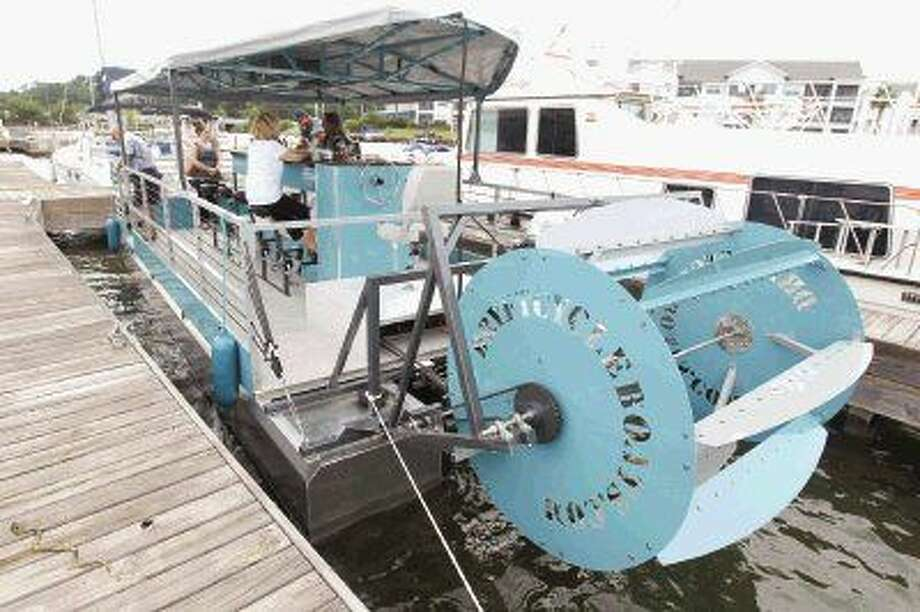 Dryft Cycle Boats will give visitors to Lake Conroe a new way to tour the lake. Up to 10 people can help power a paddleboat that can be rented for a few hours or reserved. The unique boat is one of only three of its kind in the United States. Photo: Jason Fochtman