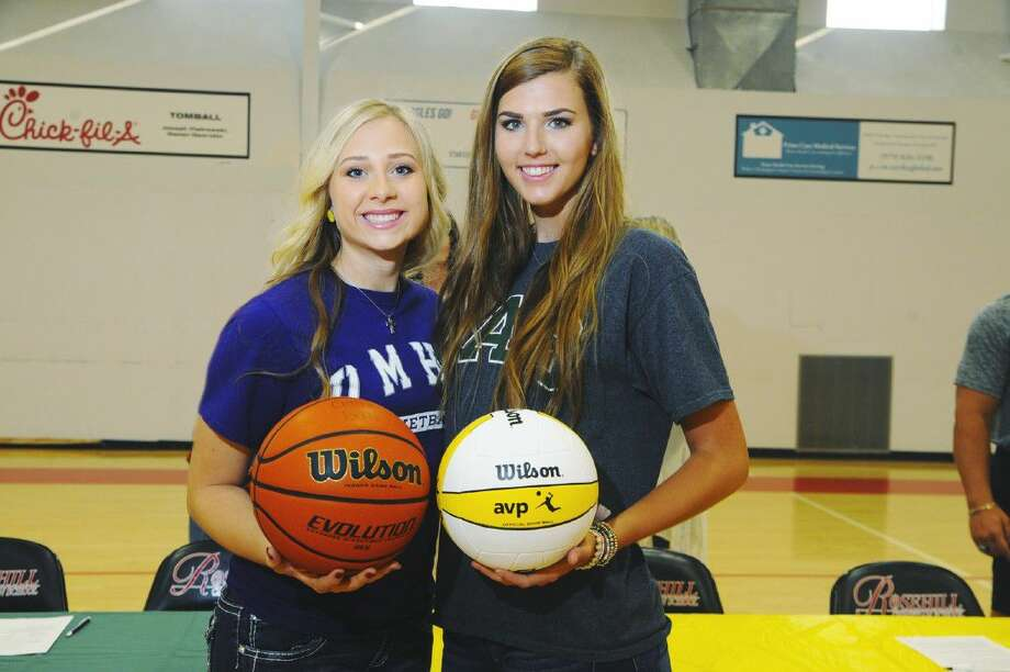Mariah Baz, left, and Brittney Munro, right, of Rosehill Christian signed National Letters of Intent to play intercollegiate athletics for the next four years. Photo: Tony Gaines