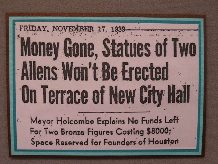 The headline for the article dated November, 17 1939 in the Houston Press details that the anticipated statues of the Allen brothers would not be commissioned to stand at city hall due to a lack of funds.