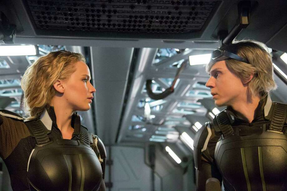 "In this image released by Twentieth Century Fox, Jennifer Lawrence, left, and Evan Peters appear in a scene from, ""X-Men: Apocalypse."" (Alan Markfield/Twentieth Century Fox via AP) ORG XMIT: NYET115 Photo: Alan Markfield / Twentieth Century Fox"