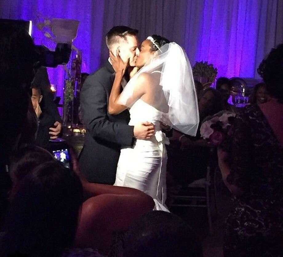 Adam and Randi Blair celebrate at their dream wedding in Humble.