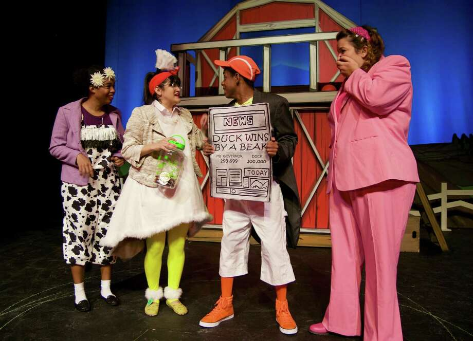 """Rebecca Williams (from left), Jovi Lee, Delvin James and Ariel Rosen play barnyard critters in Magik Theatre's """"Duck for President."""" Photo: Courtesy Megan Coy / Courtesy Megan Coy"""