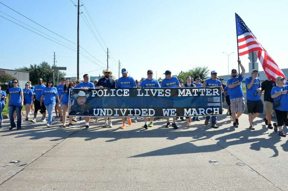 Saturday's Police Lives Matter March was organized via social media. Officials estimate over 10,000 people came out for the march conducted on a service road of the North Sam Houston Parkway West.