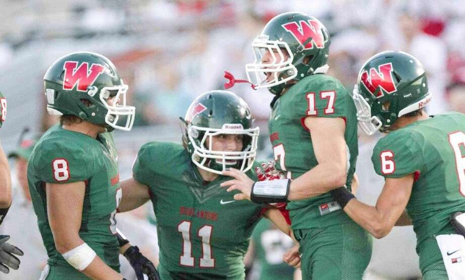 From left, Kade Markle, Carter Starcke, Geoffrey Keating and Zac Richardson have helped The Woodlands defense stifle opponents all season.