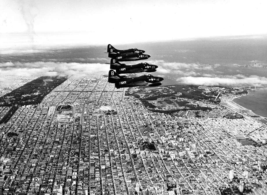 Members of the U.S. Navy Blue Angels demonstration team fly over San Francisco in 1950. Seen here over the western end of San Francisco. Photo: Chronicle File