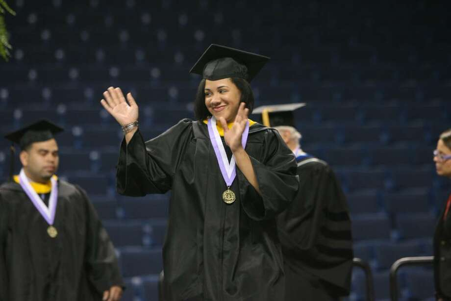 Tiah Ansari, of New York,  receives her Bachelor of Science at the University of Bridgepor's One Hundredth Commencement ceremony on Saturday, May 8 2010 at the Arena at Harbor Yard. Photo: B.K. Angeletti / Connecticut Post