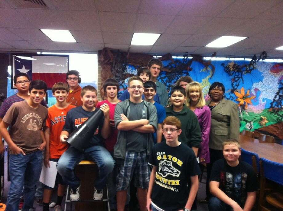 Students in Mr. Ewing's audio visual class at Woodrow Wilson Junior High recently interviewed Dayton ISD's superintendent, Dr. Jessica Johnson, regarding the bond issue. Photo: Submitted