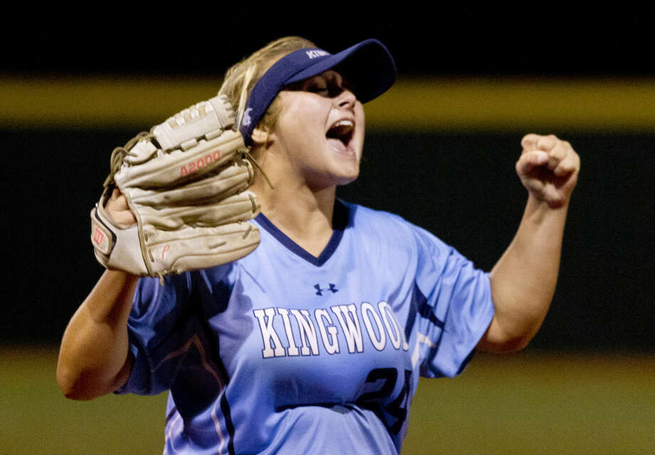 Kingwood pitcher Maddie Lindsey celebrates after striking out Midway's Jazmine Gendorf to win Game 3 of a Region II-6A semifinal series Friday in Mumford. Kingwood weathered a late rally to win the series 4-3. Go to HCNpics.com to purchase this photo, and others like it. Photo: Jason Fochtman