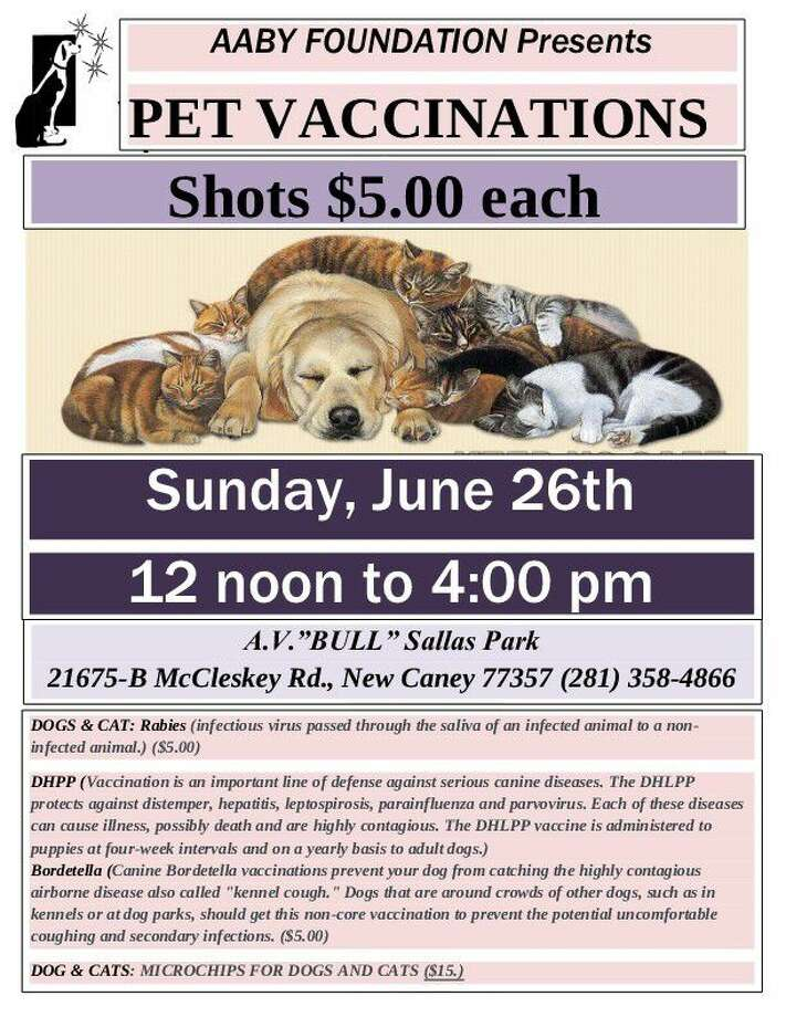 The AABY Foundation is bringing their low cost vaccination event to AV Bull Sallas Park in New Caney Sunday, June 26 from 12 p.m. to 4 p.m.