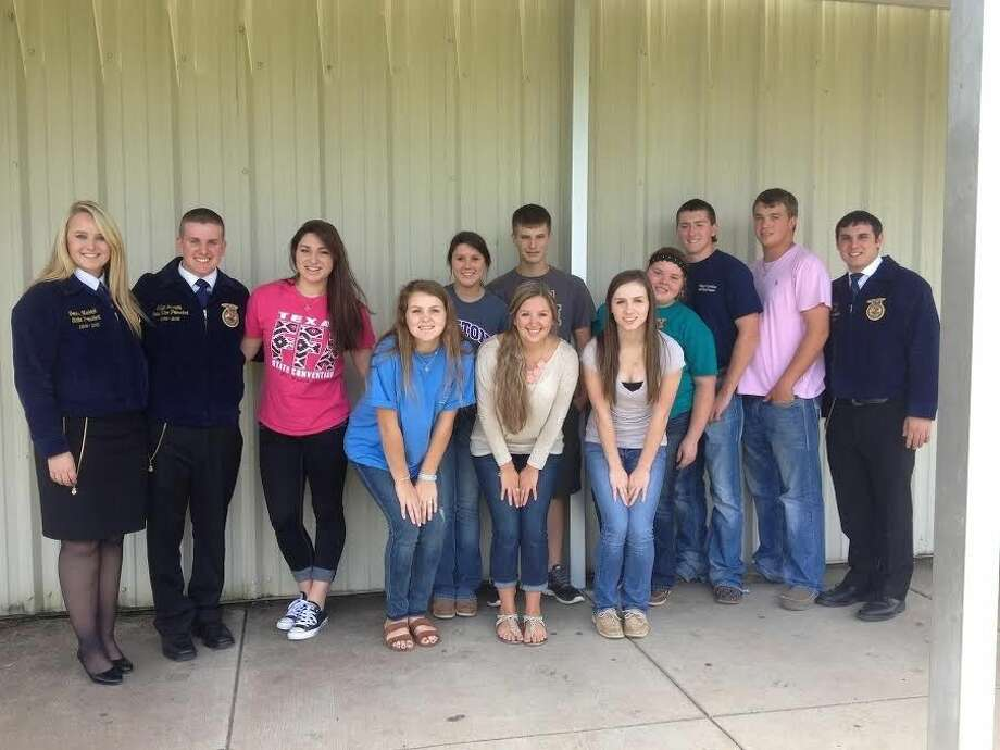Dayton FFA members are motivated for the school year after receiving special visits on Sept. 23. Pictured left to right are Gracie Hedrick, Cullen Reeves, Carly Boughan, Emma Chachere, Emma Robinson, Makayla Yates, Cody Dear, Sara Till, Maddy Taplin, Coy Brackin, Wesley Walker and Jeb Hogan. Photo: Submitted