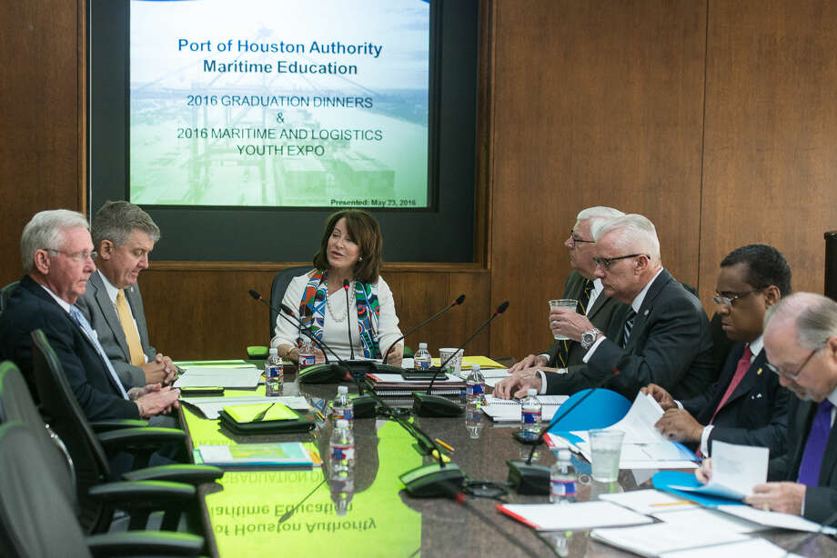 Port Commission Chairman Janiece Longoria conducts today's regular Port Commission meeting. Photo: Business Wire