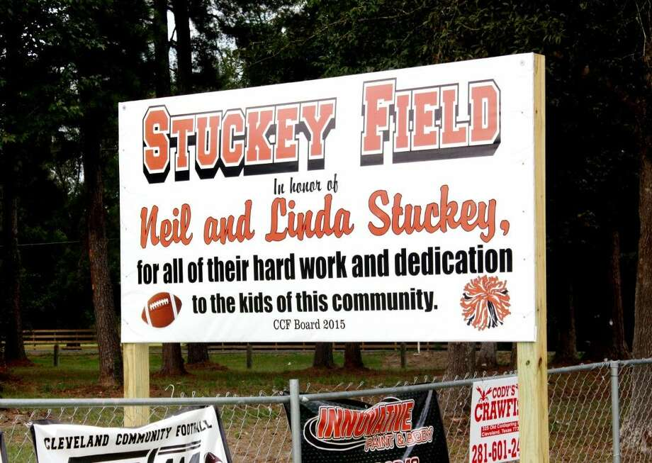 Neil and Linda Stuckey have devoted years of their lives to working hard and supporting various local sports organizations. In honor of that, Cleveland Youth Football Association chose to name one of the fields on Plum Grove Rd. 'Stuckey Field.' Photo: Stephanie Buckner