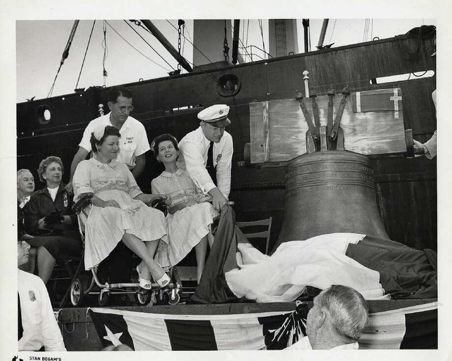 The Liberty Bell arrives at Port of Houston from London on the 'Letitia Lykes' ship on August 1960. Pictured are Sallie Woods, left, and Nadine Woods, right. Photo: Submitted