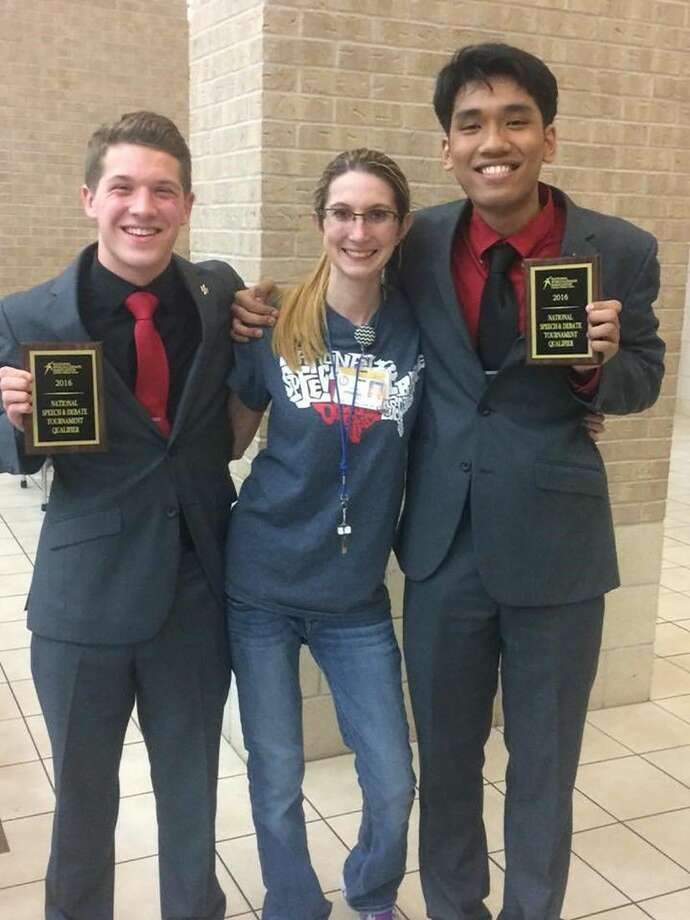 Jersey Village students Noah Kopesky, left, and Justin Meun, joined by teacher Regina Jennings, qualified for the National Speech and Debate Association's National Championship in Duo Interpretation.