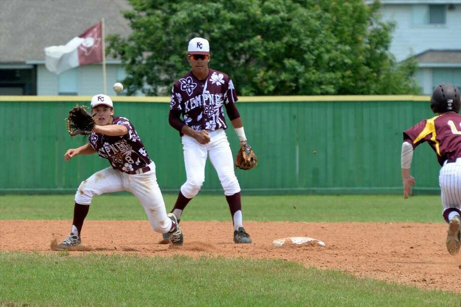 Kempner second baseman Blake Ehlinger waits to tag a Deer Park runner as Simeon Woods-Richardson looks on during Game 2 of the Region III Quarterfinals, May 21 at Kempner High School. View this and additional photos at HCNPics.com. Photo: Craig Moseley
