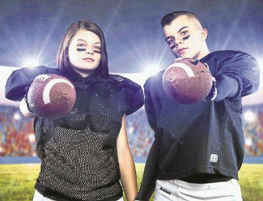 Destiny Armendariz with brother, Emil Armendariz, is currently in her second year of playing football at Creekwood Middle School.