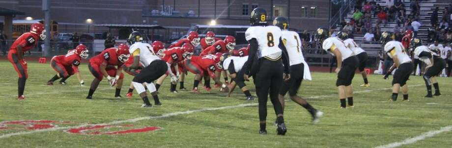 The Cleveland Indians (left) take the offensive against the Liberty Panthers. Photo: Jacob McAdams