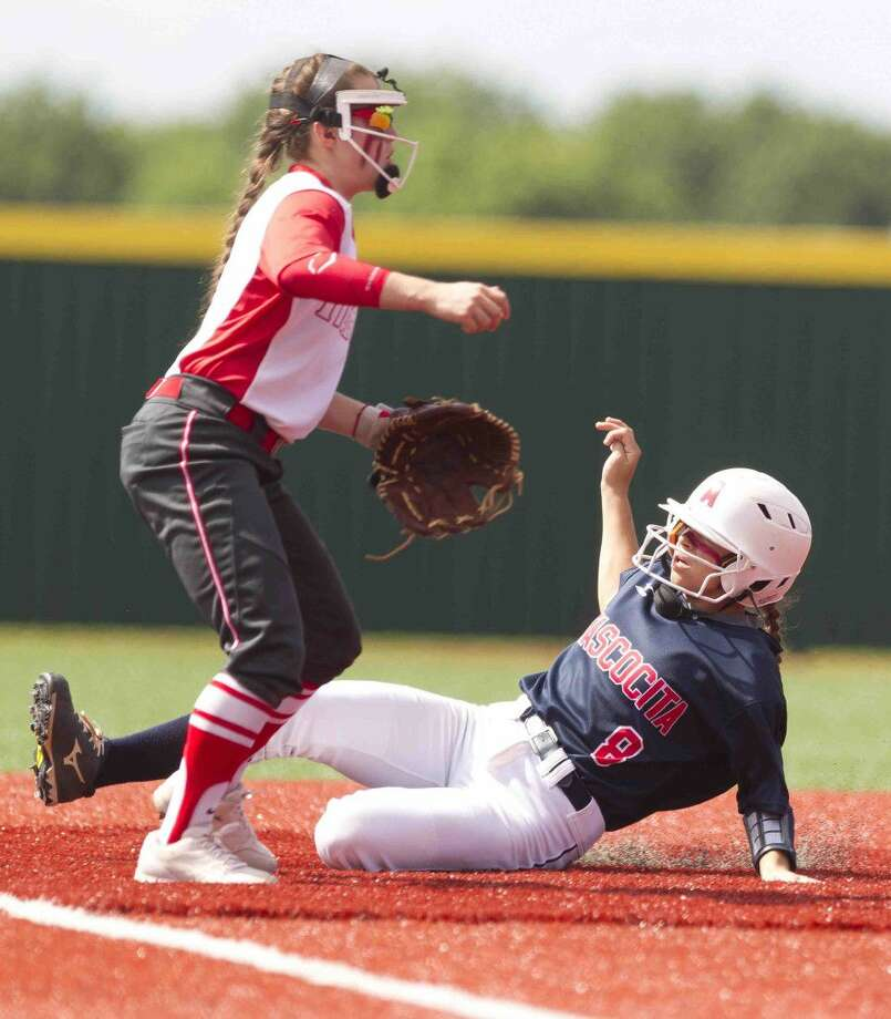 Atascocita's Brittney Stafford slides into third base during the third inning of a Region II-6A semifinal game Friday in Mumford. Belton defeated Atascocita 3-2 in the best-of-three sereis. Go to HCNpics.com to purchase this photo, and others like it. Photo: Jason Fochtman