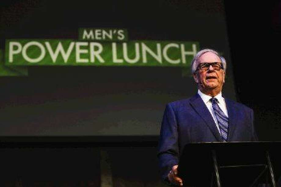 Carroll Dawson, former Houston Rockets general manager, speaks during the Men's Power Lunch speaker series Monday at First Baptist Church of Conroe.