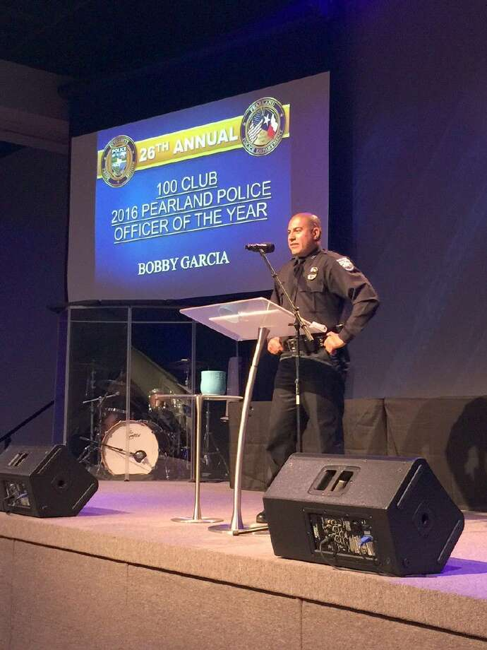 Officer Bobby Garcia was honored as the 100 Club Pearland Police Officer of the Year. Photo: Kristi Nix