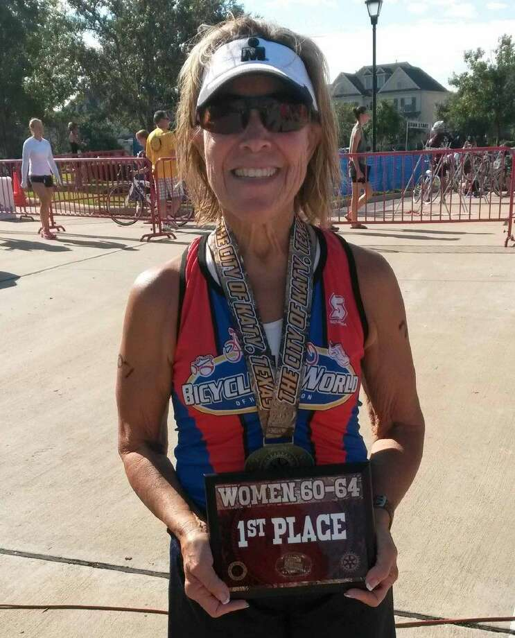 Cinco Ranch resident Mary Castellucci won the female 60-64 division at the 22nd Annual Katy Triathlon at Firethorne. Photo: Jack Marrion