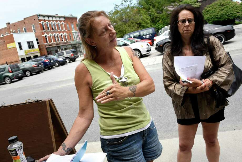 Frustrated residents Loreen Hackett, left, and Michele Baker on Saturday, July 30, 2016, at HAYC3 Armory in Hoosick Falls, N.Y.  (Cindy Schultz / Times Union) Photo: Cindy Schultz / Albany Times Union