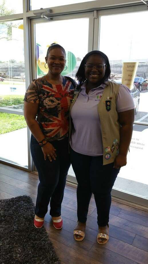 Ja'Nae Hardy, a junior at Cy-Falls High School, pictured with Kentrie LeDee, Epilepsy Foundation educator, created and implemented Seizure Action Team (SAT) Partners, a student response program that helps provide a safe environment for those experiencing seizures, to earn her Girl Scout Gold Award, the highest award in Girl Scouting. To learn more about the Girl Scout Gold Award, which turns 100 in 2016, visit www.girlscouts.org. Photo: Submitted Photo
