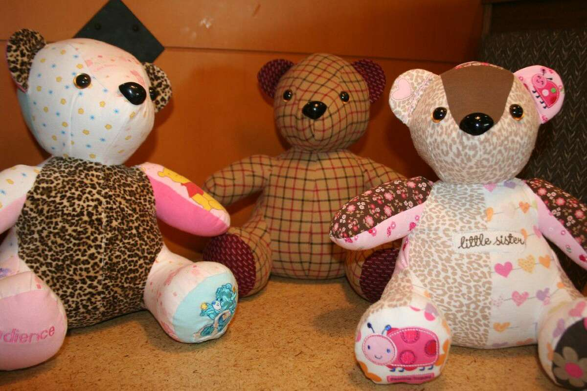 In 2009 my grandmother died on Mother's Day. I saved a few of her shirts to make memory bears for my kids. After two years, I still couldn't bring myself cut them up so I had a coworker make them. She made three, two for my girls and one for my mom. I waited till Mother's Day and then I gave them to my mom and girls. The yellow bear was made from a sweatshirt my grandmother used to wear. The white bear it was made from matching t-shirts my grandmother, mom, my daughters and I bought during family trips to Cape Cod. - Amanda Parker, formerly of Guilderland