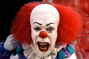 Pennywise the Dancing Clown from the miniseries It, based on the book of the same name by Stephen King.