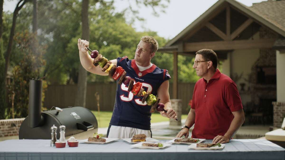 J.J. Watt stars in a commercial with H-E-B's Scott McClelland. H-E-B is looking to add stores in high-density areas in central Houston.