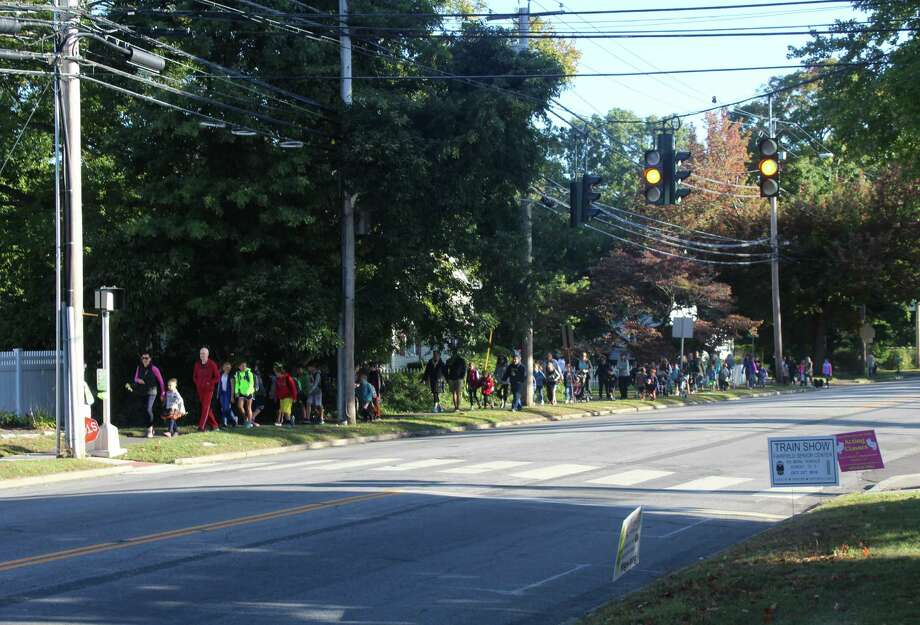 Students that live near Jennings Elementary School in Fairfield, Conn. met up and walked to school on Oct. 5, 2016 for International Walk to School Day. Photo: Laura Weiss / Hearst Connecticut Media / Fairfield Citizen