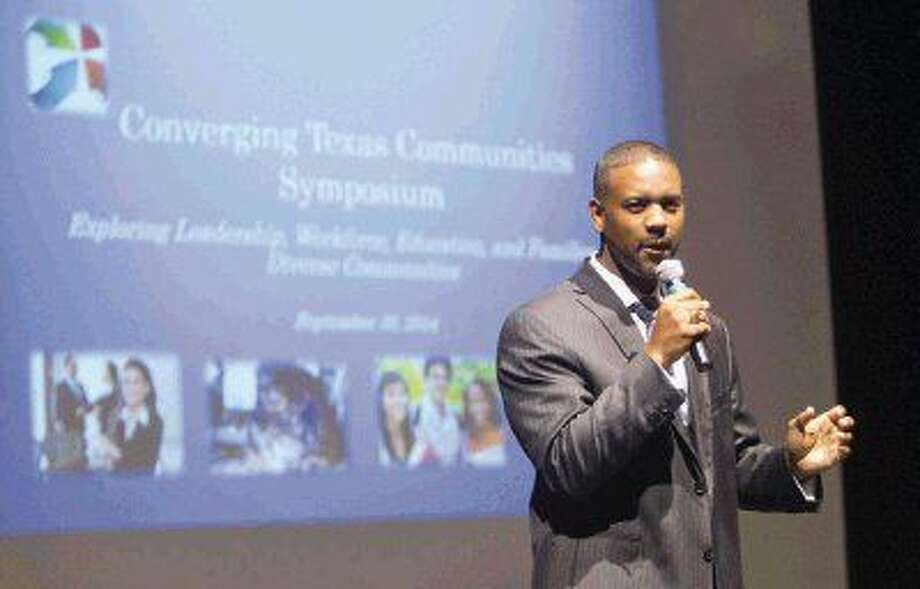 Lone Star College - Montgomery President Austin Lane speaks during the Converging Texas Communities Symposium at Lone Star College - Montgomery Tuesday. The symposium focused on exploring diversity in leadership, education, family and the workforce. Photo: Jason Fochtman
