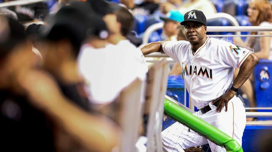 MIAMI, FL - SEPTEMBER 20: Hitting coach Barry Bonds of the Miami Marlins looks on from the dugout during the game against the Washington Nationals at Marlins Park on September 20, 2016 in Miami, Florida. (Photo by Rob Foldy/Getty Images) Photo: Rob Foldy, Getty Images