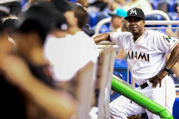 MIAMI, FL - SEPTEMBER 20: Hitting coach Barry Bonds of the Miami Marlins looks on from the dugout during the game against the Washington Nationals at Marlins Park on September 20, 2016 in Miami, Florida. (Photo by Rob Foldy/Getty Images)
